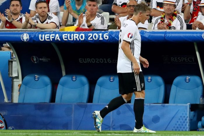 MARSEILLE, FRANCE - JULY 07: Bastian Schweinsteiger of Germany walks off the pitch after being substituted during the UEFA EURO semi final match between Germany and France at Stade Velodrome on July 7, 2016 in Marseille, France. (Photo by Alexander Hassenstein/Getty Images)