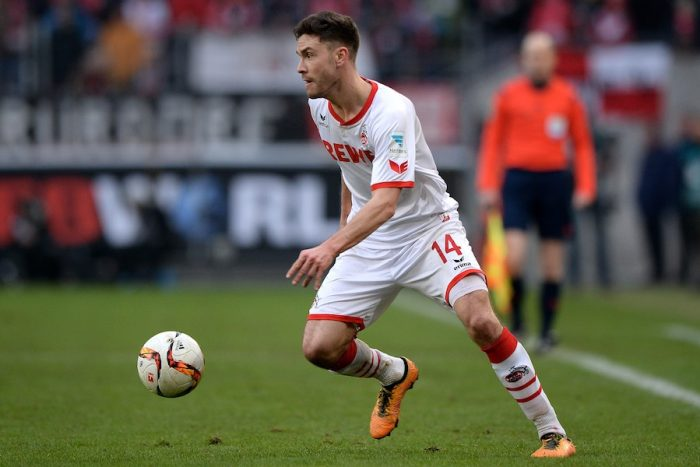 COLOGNE, GERMANY - MARCH 05: Jonas Hector of Koeln runs with the ball during the Bundesliga match between 1. FC Koeln and FC Schalke 04 at RheinEnergieStadion on March 5, 2016 in Cologne, Germany. (Photo by Sascha Steinbach/Bongarts/Getty Images)