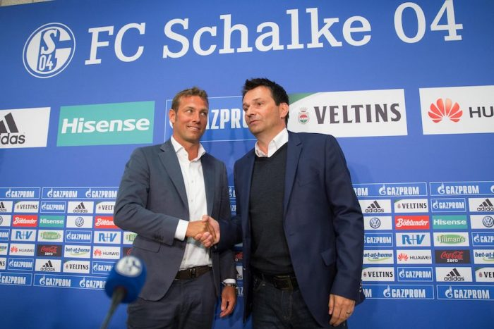 GELSENKIRCHEN, GERMANY - JUNE 21: Markus Weinzierl (L), the newly appointed head coach of FC Schalke 04 and Schalke's manager Christian Heidel pose prior a press conference at Veltins Arena on June 21, 2016 in Gelsenkirchen, Germany. (Photo by Maja Hitij/Bongarts/Getty Images)