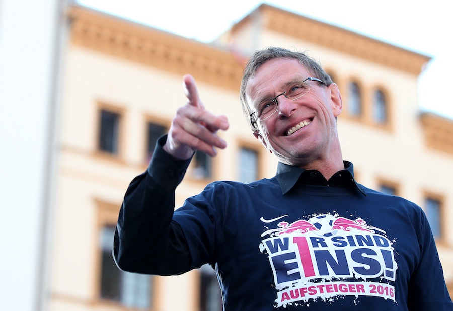 LEIPZIG, GERMANY - MAY 16: Head coach Ralf Rangnick of Leipzig celebrates promotion to the first division Bundesliga on May 16, 2016 in Leipzig, Germany. (Photo by Ronny Hartmann/Bongarts/Getty Images)