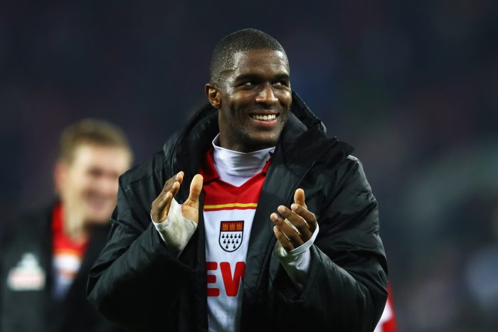 COLOGNE, GERMANY - OCTOBER 30: Anthony Modeste of Koeln celebates after victory in the Bundesliga match between 1. FC Koeln and Hamburger SV at RheinEnergieStadion on October 30, 2016 in Cologne, Germany. (Photo by Dean Mouhtaropoulos/Bongarts/Getty Images)