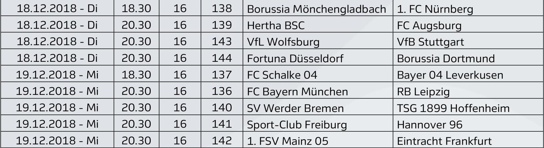 Bundesliga Spieltagsansetzungen Das Ist Die Letzte Partie Des Jahres