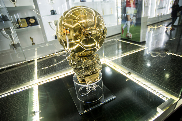 FUNCHAL, MADEIRA, PORTUGAL - MAY 09: Detail of one of the three golden ball at the gallery of trophies of the Portuguese footballer Cristiano Ronaldo on May 9, 2016 in Funchal, Madeira, Portugal. (Photo by Octavio Passos/Getty Images)