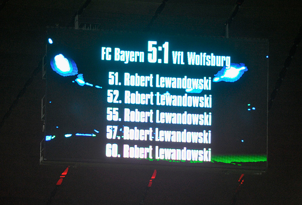 MUNICH, GERMANY - SEPTEMBER 22: The screen shows the goals of Robert Lewandowski of FC Bayern Muenchen after the Bundesliga match between FC Bayern Muenchen and VfL Wolfsburg at Allianz Arena on September 22, 2015 in Munich, Germany. (Photo by Lennart Preiss/Bongarts/Getty Images)