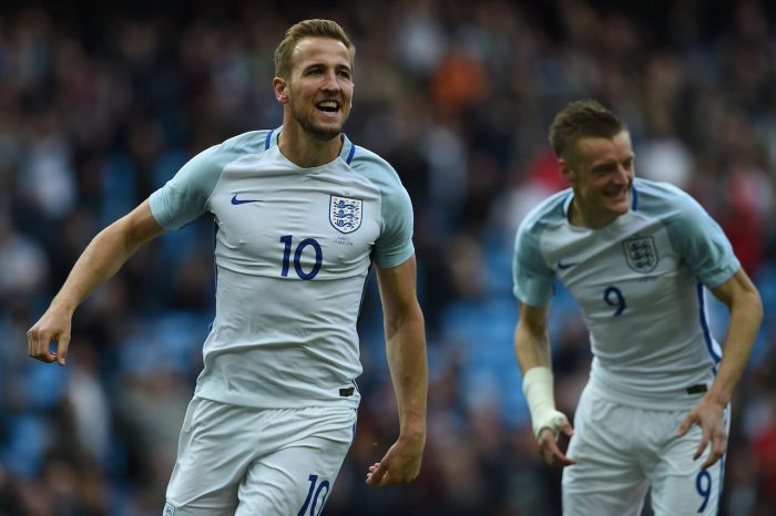 England's striker Harry Kane (L) celebrates scoring his team's first goal with England's striker Jamie Vardy during the friendly football match between England and Turkey at the Etihad Stadium in Manchester, north west England, on May 22, 2016. / AFP / PAUL ELLIS / NOT FOR MARKETING OR ADVERTISING USE / RESTRICTED TO EDITORIAL USE (Photo credit should read PAUL ELLIS/AFP/Getty Images)