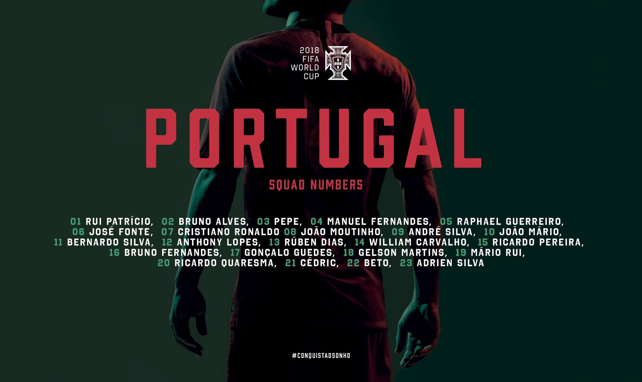 A larga maioria dos números mantêm-se inalterada em relação à numeração  usada no Euro 16. José Fonte passará a vestir a camisola número 6 4c7716876cebe