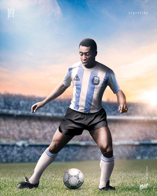 Pelé argentino? Designer coloca ídolos com camisa do rival ...